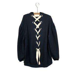 Zara Trafaluc Oversized Corset Back Navy Sweater Dress